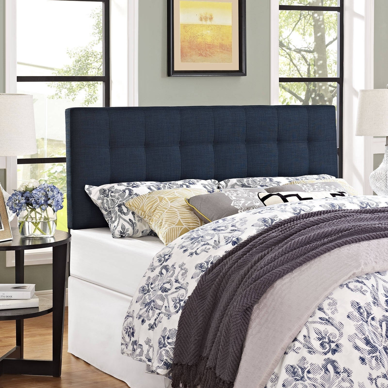 blue padded tufted outstanding upholstered headboard high navy twin bedrooms headboards
