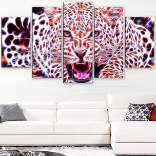 Design Art 'Glowing Wild Cat' Large Animal Canvas Artwork