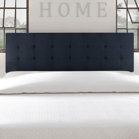 Porch & Den Hyperion Navy Blue Tufted Fabric Headboard