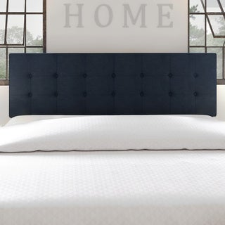 Porch & Den Hyperion Navy Blue Tufted Fabric Headboard