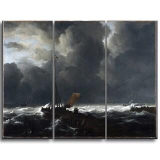 Design Art 'Jacob van Ruisdael - Rough Sea at a Jetty' Sea & Shore Canvas Artwork