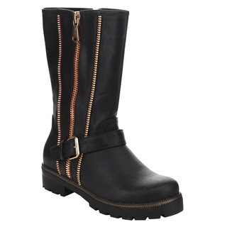 Beston Isabel-08 Women's Stylish Mid-calf Double Side Zipper Lug Sole Boots