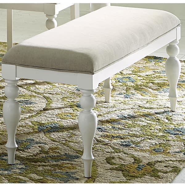 Summer Cottage White Linen Upholstered Dining Bench