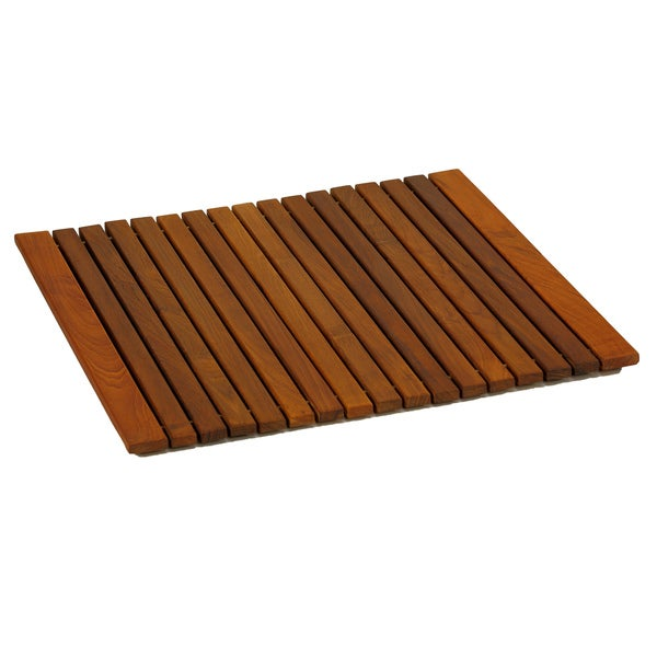 Bare Decor Lykos String Spa Shower Mat in Solid Teak Wood Oiled Finish, Large: 24x24