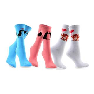 Women's Valentine's Day Cat Love Cotton Crew Socks 3-Pack