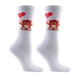 Women's Valentine's Day Teddy Bear Be Mine Cotton Crew Sock