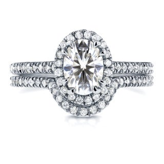 Annello by Kobelli 14k White Gold Oval Moissanite and 1/2ct TDW Diamond Halo Bridal Set (