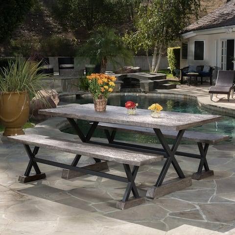 Numana Outdoor 3-piece Lightweight Concrete Dining Set