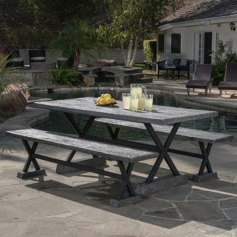Numana Outdoor 3 Piece Lightweight Concrete Dining Set with Benches by Christopher Knight Home