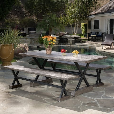Belmond Outdoor 3-piece Picnic Dining Set by Christopher Knight Home