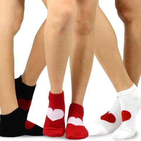 TeeHee Valentines Hearts Love Womens Cotton No Show Socks 3Pack