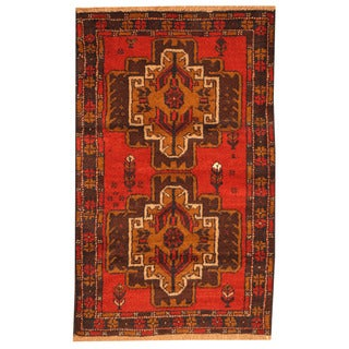 Herat Oriental Afghan Hand-knotted Tribal Balouchi Red/ Navy Wool Rug (2'8 x 4'9)