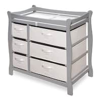 Grey Wood Sleigh Changing Table with Baskets