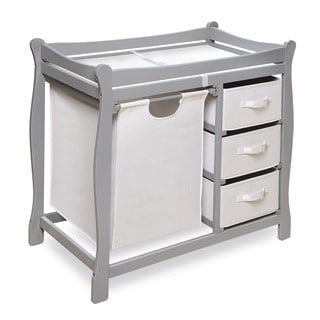 Grey Sleigh Changing Table with Hamper and Baskets