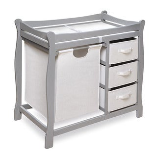 Espresso Diaper Corner Baby Changing Table. Grey Sleigh Changing Table With  Hamper And Baskets