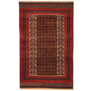 Herat Oriental Afghan Hand-knotted Tribal Balouchi Wool Rug (2'9 x 4'4)
