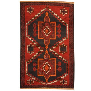 Herat Oriental Afghan Hand-knotted Tribal Balouchi Red/ Navy Wool Rug (2'10 x 4'6)