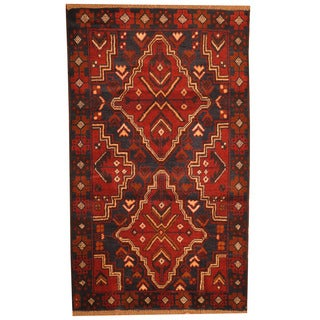 Herat Oriental Afghan Hand-knotted Tribal Balouchi Navy/ Red Wool Rug (2'10 x 4'9)