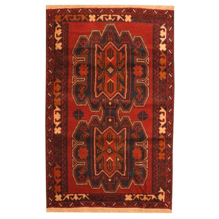 Herat Oriental Afghan Hand-knotted Tribal Balouchi Red/ Brown Wool Rug (3' x 4'5)
