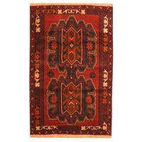 Herat Oriental Afghan Hand-knotted Tribal Balouchi Red/ Brown Wool Rug (3' x 4'5) - 3' x 4'5