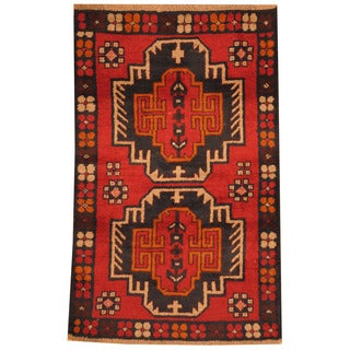 Herat Oriental Afghan Hand-knotted Tribal Balouchi Red/ Navy Wool Rug (2'10 x 4'5)