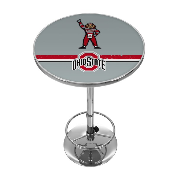 Ohio State Stripe Brutus Chrome Pub Table