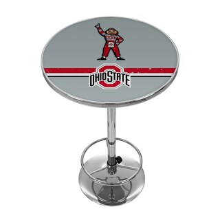 Ohio State Stripe Brutus Chrome Pub Table