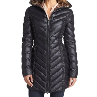 Laundry By Shelli Segal Women's Black Leopard Packable Down Coat
