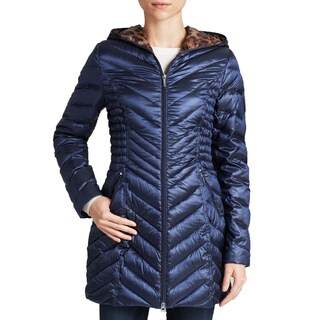 Laundry By Shelli Segal Women's Blue Leopard Lined Down Packable Coat