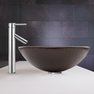 VIGO Enchanted Earth Glass Vessel Sink and Dior Faucet Set in Chrome