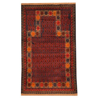 Herat Oriental Afghan Hand-knotted Tribal Balouchi Red/ Brown Wool Rug (3' x 4'6)