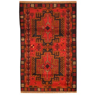 Herat Oriental Afghan Hand-knotted Tribal Balouchi Red/ Burgundy Wool Rug (2'10 x 4'5)