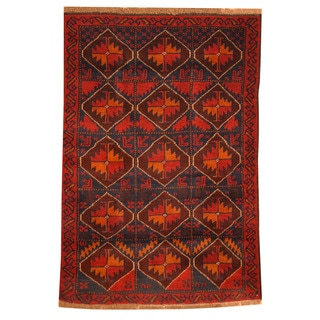 Herat Oriental Afghan Hand-knotted Tribal Balouchi Rust/ Navy Wool Rug (2'10 x 4'6)