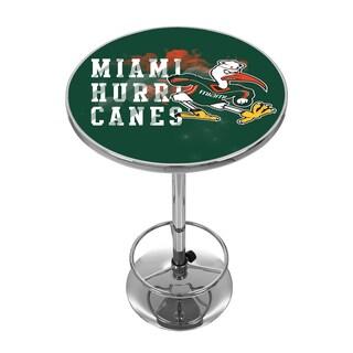 University of Miami Chrome Pub Table - Smoke