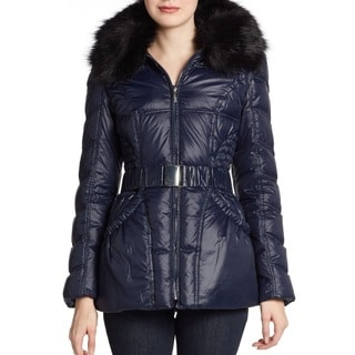 Laundry By Shelli Segal Women's Navy Blue Belted Hooded Puffer Down Coat