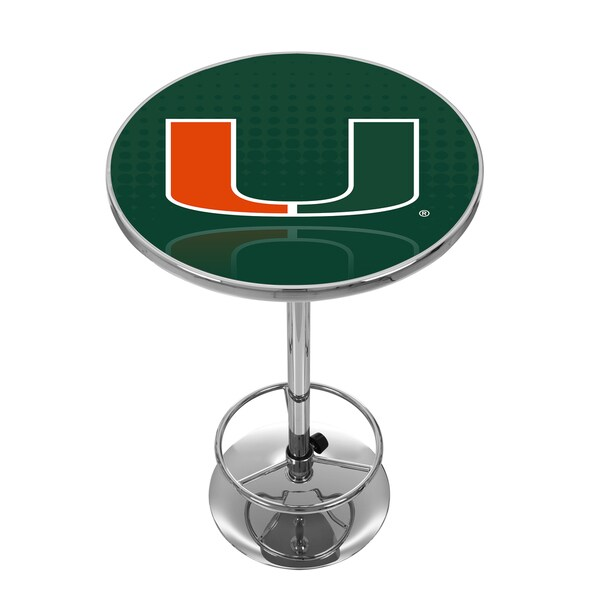 University of Miami Chrome Pub Table - Reflection
