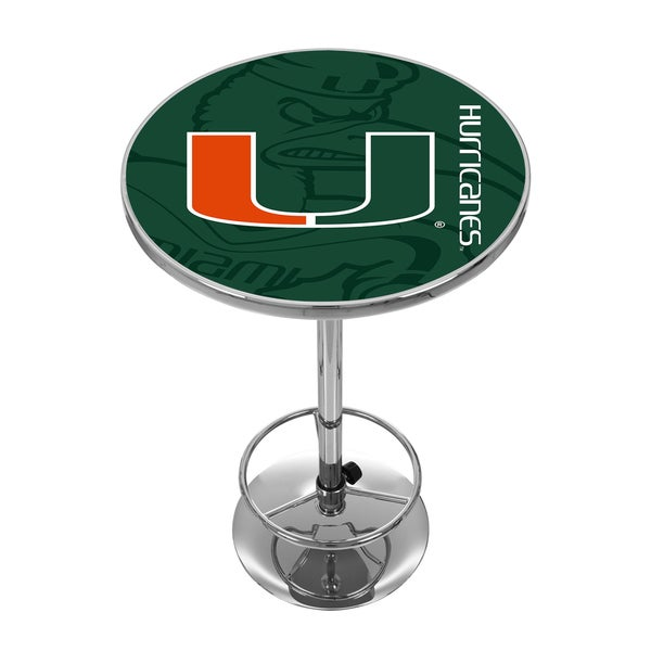 University of Miami Chrome Pub Table - Fade