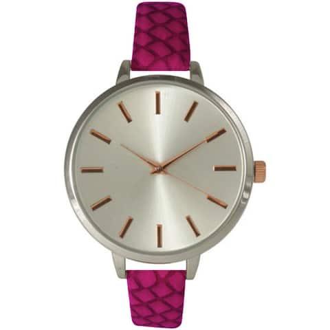 Olivia Pratt Women's Skinny Etched Strap Watch