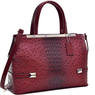 Dasein Frame Ostrich Faux Leather Tote with Shoulder Strap