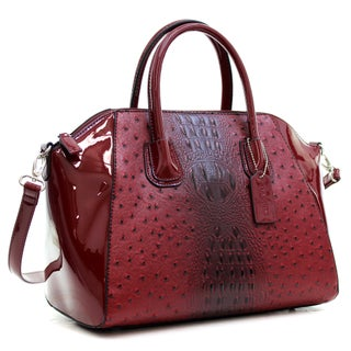 Dasein Ostrich Faux Leather Weekender Satchel with Removable Strap (More options available)
