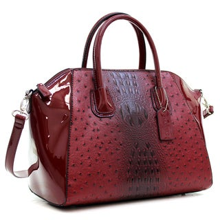 Dasein Ostrich Faux Leather Weekender Satchel with Removable Strap