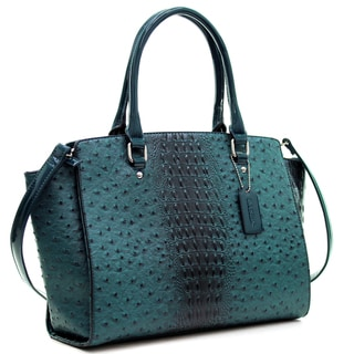 Link to Dasein Faux Ostrich Leather Winged Satchel with Patent Trim Similar Items in Shop By Style