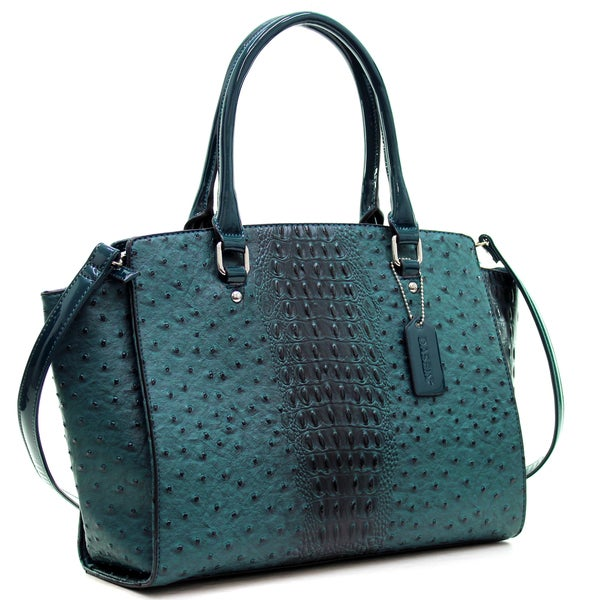 Dasein Faux Ostrich Leather Winged Satchel with Patent Trim. Opens flyout.