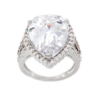 Nexte Jewelry Silvertone Pear and Round Solitaire Cubic Zirconia Ring