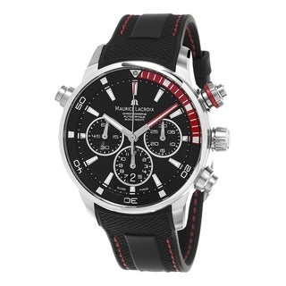 Maurice Lacroix Men's PT6018-SS001-330 'Pontos S' Black/Red Dial Black Rubber Strap Chronograph Swiss Automatic Watch