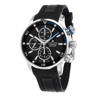 Maurice Lacroix Men's PT6008-SS001-331 'Pontos S' Black/Blue Dial Black Rubber Strap Chronograph Swiss Automatic Watch