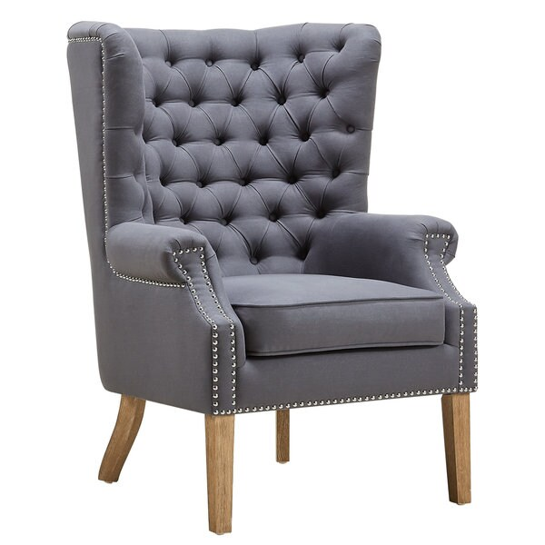 Abe Grey Linen Wing Chair Free Shipping Today 17725704