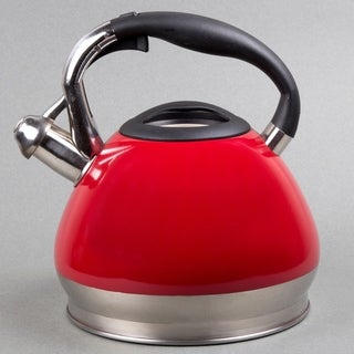 Creative Home Triumph 3.5 Qt Whistling Stainless Steel Tea Kettle - Red