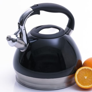 Creative Home Triumph 3.5 Qt Whistling Stainless Steel Tea Kettle - Black