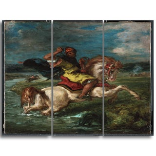 Design Art 'Eugene Delacroix - Horseman Crossing a Ford' Canvas Art Print - 28Wx36H Inches - 3 Panels